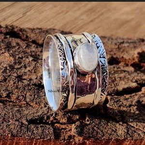 925 Sterling Silver SponnerMoonstone Cigar Band.